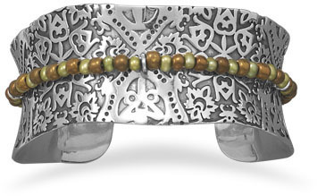 Oxidized Cuff with Cultured Freshwater Pearls and Glass Beads 925 Sterling Silver