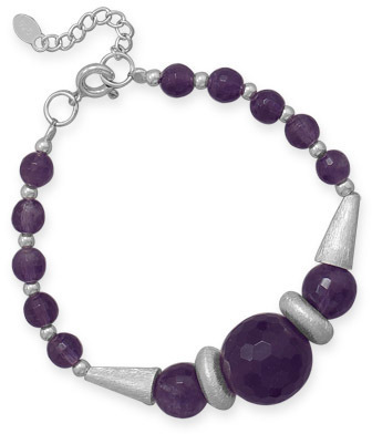 "7""+1"" Faceted Amethyst Bead Bracelet 925 Sterling Silver"