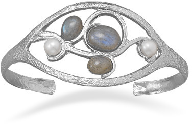 Ornate Multistone Cuff 925 Sterling Silver