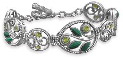 "7.75"" Ornate Malachite and Peridot Toggle Bracelet 925 Sterling Silver"