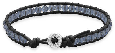 "7"" Leather and Blue Crystal Bracelet 925 Sterling Silver"