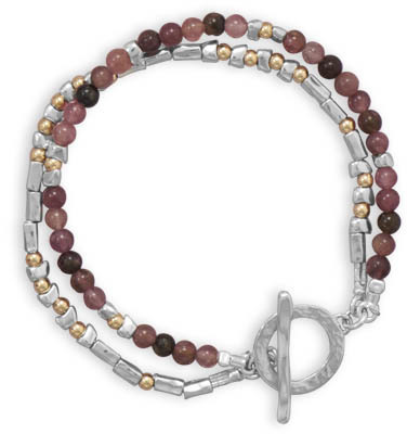 "7.5"" Two Tone Toggle Bracelet with Tourmaline Beads 925 Sterling Silver"