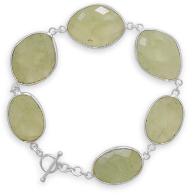 "7.75"" Prehnite Toggle Bracelet 925 Sterling Silver"