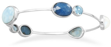 Multistone Stackable Bangle 925 Sterling Silver