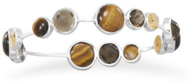 Tiger's Eye, Quartz and Citrine Stackable Bangle 925 Sterling Silver