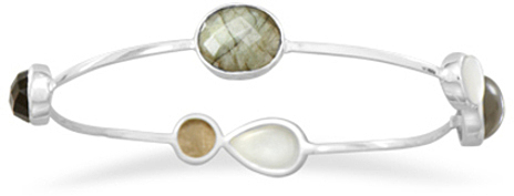 Labradorite, Mother of Pearl, Moonstone and Smoky Quartz Stackable Bangle 925 Sterling Silver