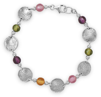 "7.5"" Multicolor Glass Bead and Disc Bracelet 925 Sterling Silver"