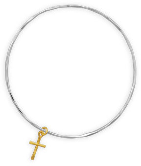 Textured Bangle with 14 Karat Gold Plated Cross Charm 925 Sterling Silver