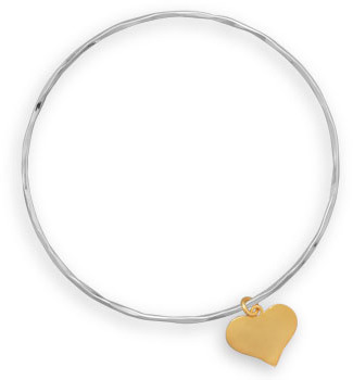 Textured Bangle with 14 Karat Gold Plated Heart Charm 925 Sterling Silver