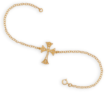 "7.5"" 14 Karat Gold Plated Sterling Silver Cross Bracelet 925 Sterling Silver"