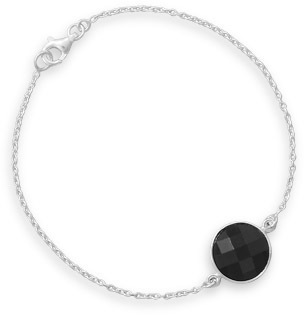 "7.5"" Bracelet with Black Acrylic Bead 925 Sterling Silver"