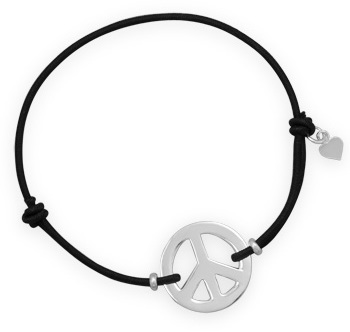Adjustable Peace Sign Stretch Bracelet 925 Sterling Silver