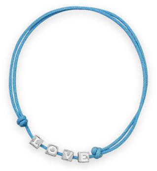 "Adjustable Blue Stretch ""LOVE"" Bracelet 925 Sterling Silver"