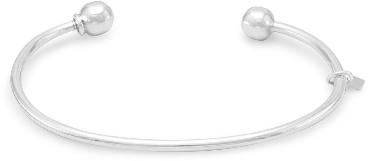 Charm Cuff with Ball End 925 Sterling Silver