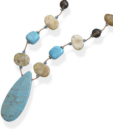 "16""+2"" Extension Yellow Opal, Dyed Magnesite and Smoky Quartz Necklace - DISCONTINUED"