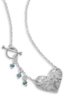 "17"" Heart Toggle Necklace with Turquoise Beads 925 Sterling Silver"