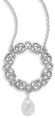"18"" Necklace with Faceted CZ and Scroll Design Pendant 925 Sterling Silver"