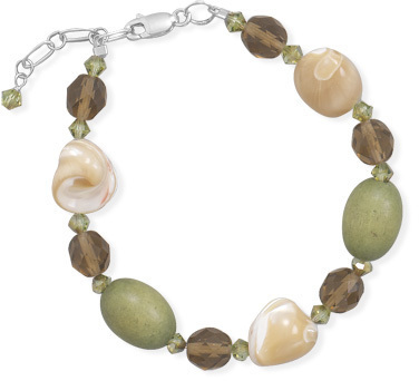 "7""+1"" Shell, Glass  and Wood Bead Bracelet 925 Sterling Silver"