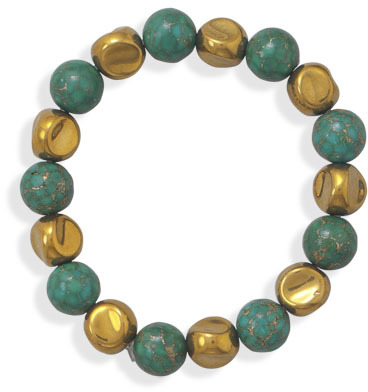 Turquoise and Gold Glass Bead Bracelet - DISCONTINUED