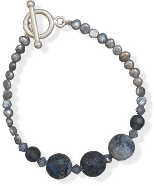 "7"" Blue Fire Agate and Cultured Freshwater Pearl Bracelet 925 Sterling Silver"