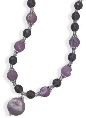 "16""+2"" Purple Glass and Druzy Agate Necklace 925 Sterling Silver"