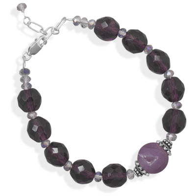 "7""+1"" Purple Glass and Druzy Agate Bracelet 925 Sterling Silver- DISCONTINUED"