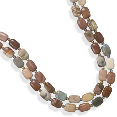 "22"" Double Strand Fall Jasper Necklace 925 Sterling Silver"