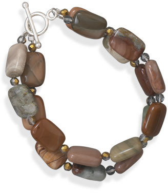 "7"" Double Strand Fall Jasper Necklace 925 Sterling Silver"