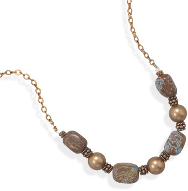 "19.5"" Copper Necklace with Jasper and Shell Beads - DISCONTINUED"