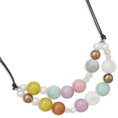 "16""+2"" Multicolor Jade and Cultured Freshwater Pearl Necklace 925 Sterling Silver - DISCONTINUED"