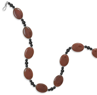 "21"" Carnelian and Black Onyx Necklace 925 Sterling Silver"