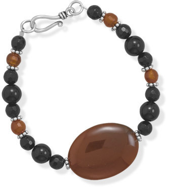 "7.5"" Carnelian and Black Onyx Bracelet 925 Sterling Silver"