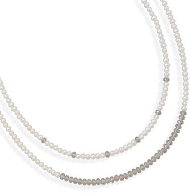 "17"" Double Strand Cultured Freshwater Pearl and CZ Necklace"