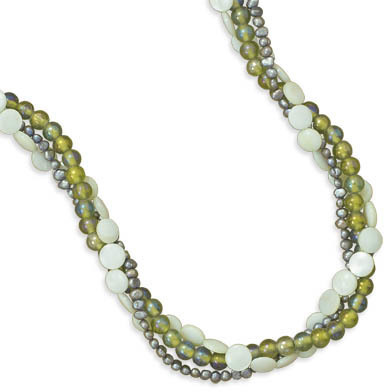 "17""+1"" Multistrand Green Shell and Glass Necklace 925 Sterling Silver - DISCONTINUED"