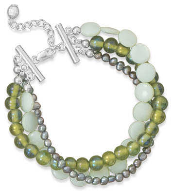 "7""+1"" Multistrand Green Shell and Glass Bracelet 925 Sterling Silver"