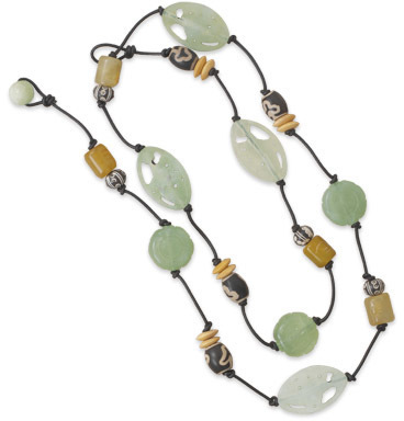 "36"" Leather Necklace with Serpentine and Porcelain - DISCONTINUED"