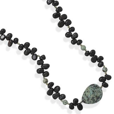 "36"" Black Onyx and Turquoise Necklace - DISCONTINUED"