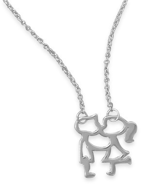 "18"" Rhodium Plated Kissing Girl and Boy Necklace 925 Sterling Silver"