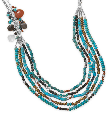 "23""+2"" Multistrand Turquoise and Multibead Necklace 925 Sterling Silver"
