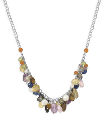 "16.5"" Multistone Charm Necklace 925 Sterling Silver"