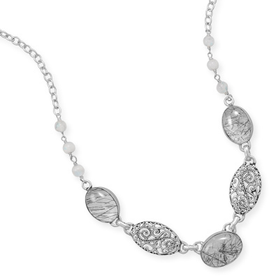 "18"" Oxidized Multistone Necklace 925 Sterling Silver"