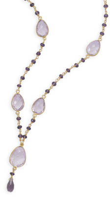 "18"" 14 Karat Gold Plated Amethyst Necklace 925 Sterling Silver"