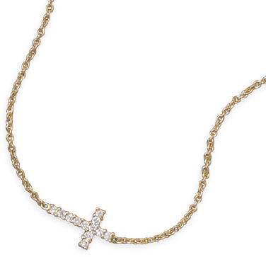 14 Karat Gold Plated Necklace with CZ Cross 925 Sterling Silver
