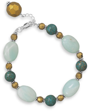 "7""+1"" Multistone and Glass Bead Bracelet 925 Sterling Silver"