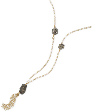 "27"" 14/20 Gold Filled Necklace with Pyrite Stone"