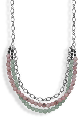 "22""+2"" Gunmetal Multibead Necklace 925 Sterling Silver - DISCONTINUED"