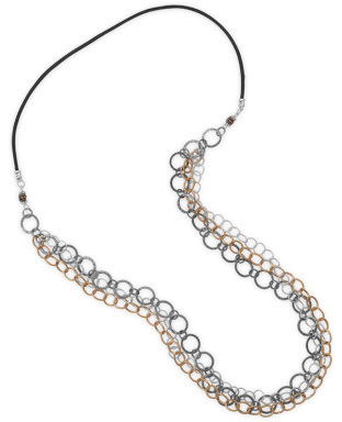 "35"" Tri Tone Multistrand Necklace 925 Sterling Silver"