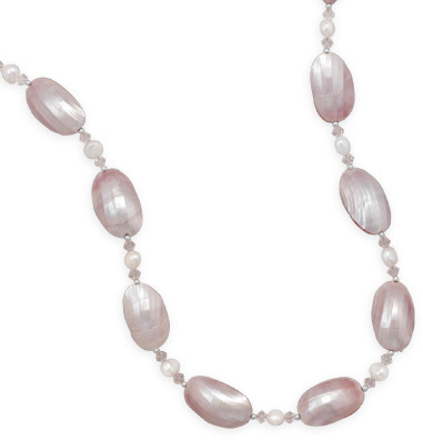 "16""+2"" Pink Shell Necklace 925 Sterling Silver"