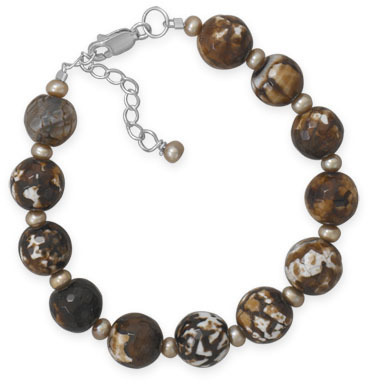 "7""+1"" Faceted Brown Agate Bracelet 925 Sterling Silver"