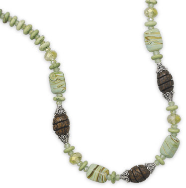 "16.5""+2"" Multistone and Wood Bead Necklace 925 Sterling Silver"